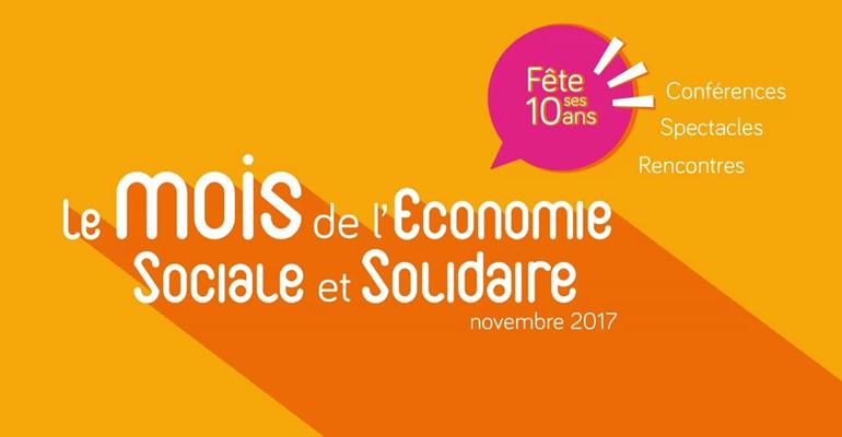 Bandeau de la 10ème édition du mois de l'économie sociale et solidaire