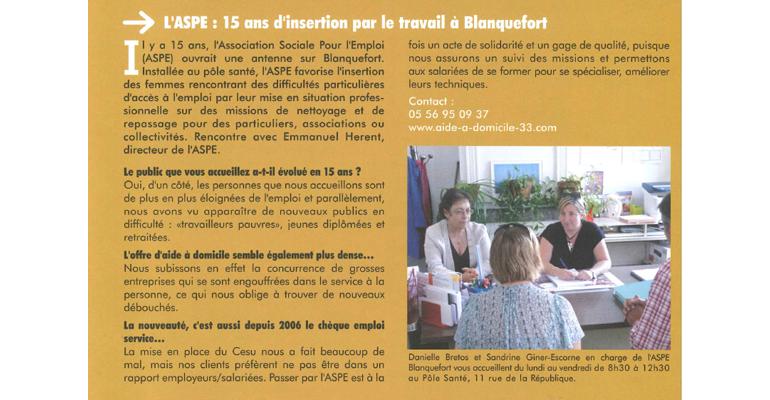 ASPE Blanquefort dans le magazine de la ville