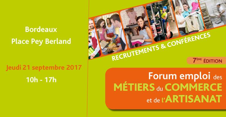 Affiche forum emploi des métiers du commerce et de l'artisanat à Bordeaux